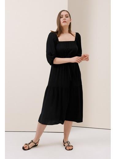Gusto Kare Yakalı Uzun Elbise - Okyanus Kare Yakalı Uzun Elbise - Okyanus Siyah